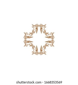 Luxury gold and white logo design template vector illustration for Restaurant, Royalty, Boutique, Cafe, Hotel, Heraldic, Jewelry and Fashion. Ornament shapes for logotype or badge design