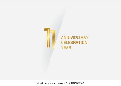 Luxury Golden 11 anniversary, minimalist logo. 11th jubilee, greeting card. Birthday invitation. 11 year sign. Gold space vector illustration on white grey - Vector