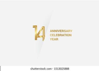 Luxury Golden 14 anniversary, minimalist logo. 14th jubilee, greeting card. Birthday invitation. 14 year sign. Gold space vector illustration on white grey - Vector