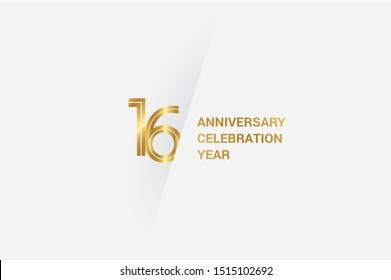 Luxury Golden 16 anniversary, minimalist logo. 16th jubilee, greeting card. Birthday invitation. 16 year sign. Gold space vector illustration on white grey - Vector