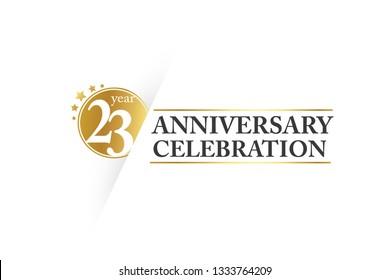 Luxury Golden 23 year anniversary, minimalist logo.  jubilee, greeting card. Birthday invitation. Gold space vector illustration on white background - Vector