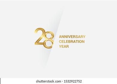 Luxury Golden 28 anniversary, minimalist logo. jubilee, greeting card. Birthday invitation. 28 year sign. Gold space vector illustration on white grey - Vector