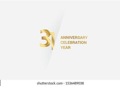 Luxury Golden 31 anniversary, minimalist logo. jubilee, greeting card. Birthday invitation. 31 year sign. Gold space vector illustration on white grey - Vector