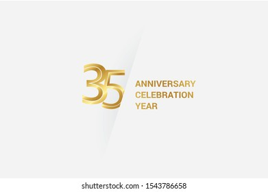 Luxury Golden 35 anniversary, minimalist logo. jubilee, greeting card. Birthday invitation. 35 year sign. Gold space vector illustration on white grey - Vector