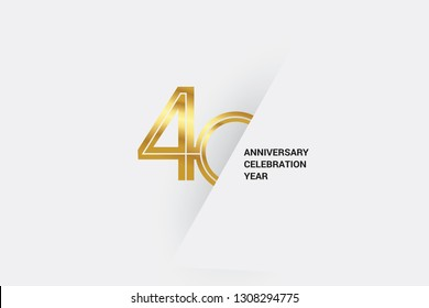 Luxury Golden 40 anniversary, minimalist logo. 40th jubilee, greeting card. Birthday invitation. 40 year sign. Gold space vector illustration on white grey - Vector