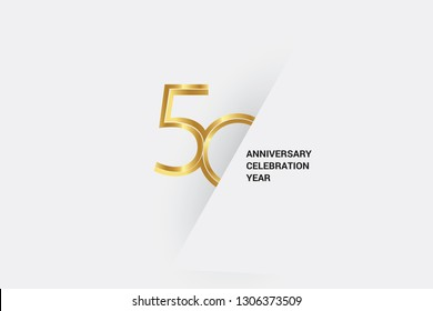 Luxury Golden 50 anniversary, minimalist logo. 50th jubilee, greeting card. Birthday invitation. 50 year sign. Gold space vector illustration on white grey - Vector