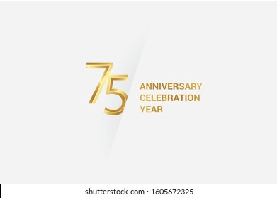 Luxury Golden 75 year anniversary, minimalist logo. 75th jubilee, greeting card. Birthday invitation. 75 year sign. Gold space vector illustration on white grey background - Vector