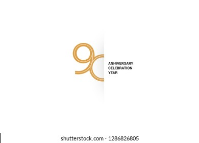 Luxury Golden 90 anniversary, minimalist logo. Sixth years, 90th jubilee, greeting card. Birthday invitation. 90 year sign. Gold space vector illustration on white background - Vector