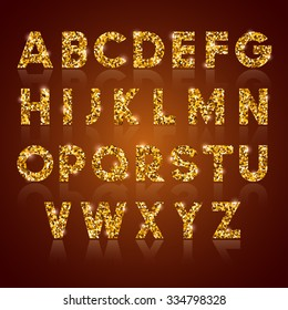 Luxury golden alphabet letters set with gold glitter texture, shiny and glowing. Vector illustration.