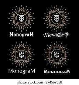 luxury golden art deco classic linear monochrome minimal hipster geometric vintage vector monogram, frame, border, label, logo, badge, crest for club, bar, cafe, restaurant, hotel, boutique