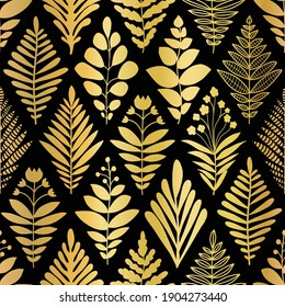 Luxury golden art deco floral pattern. Nature background vector with gold foil faux metallic texture plants, leaves and flowers line art on black color background. Vector illustration