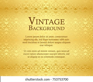Luxury golden background with vintage damask ornament