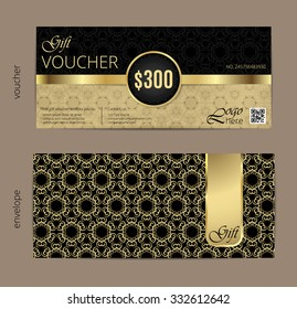 Luxury golden and black voucher with vintage ornament