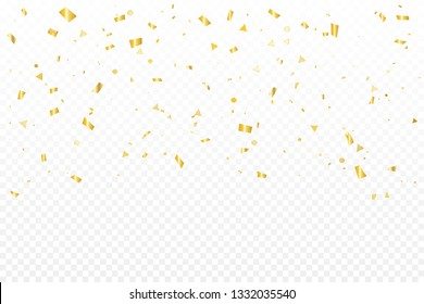Luxury Golden Confetti On Transparent Background. Celebration & Party. Vector Illustration