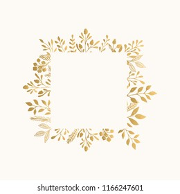 Luxury golden frame for invite, wedding, certificate.