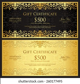 Luxury golden gift certificate in vintage style