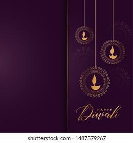 luxury golden happy diwali greeting design background