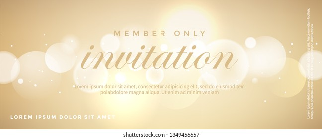 Luxury golden invitation card, Shiny bokeh card background