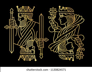 Luxury Golden King and queen Playing Card in Dark Background
