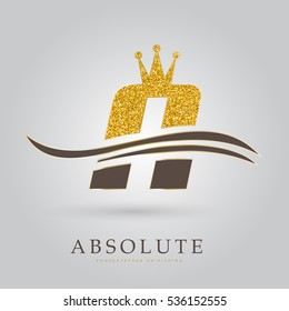 LUXURY GOLDEN LETTER A , WITH WAVES AND CROWN, ICON / LOGO