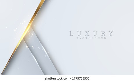 Luxury golden line background white and gray shades in 3d abstract style. Illustration from vector about modern template deluxe design.