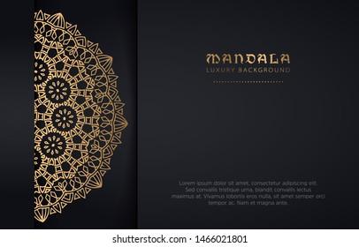 luxury golden mandala pattern vector on black background, vintage elegant metal gold brown copper gradient flower texture ornament, decorative invitation card poster flyer brochure menu print template