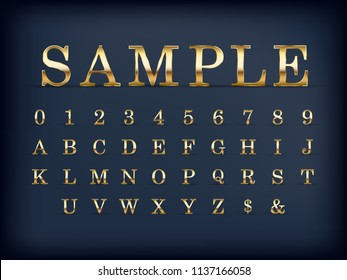 luxury golden modern english alphabet letter set and numbers on black color