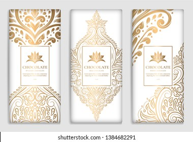 Luxury golden packaging design of chocolate bars. Vintage vector ornament template. Elegant, classic elements. Great for food, drink and other package types. Can be used for background and wallpaper.