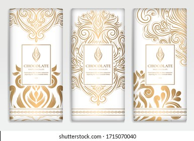 Luxury golden packaging design of chocolate bars. Vintage vector ornament template. Classic elements. Great for food, drink and other package types. Can be used for background and wallpaper.