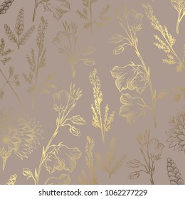 Luxury golden pattern with wildflowers on a brown background. Elegant decorative vector pattern for the design of invitations, cards, covers, business cards.