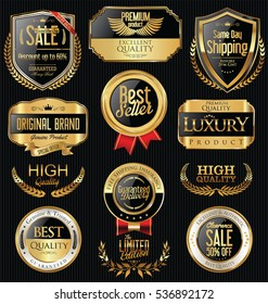 Luxury golden retro labels collection