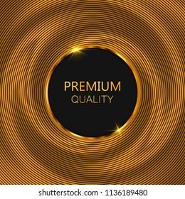 Luxury golden round frame. Gold glitter background. Vector illustration.