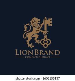 Luxury Golden Royal Lion King logo design inspiration
