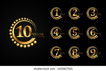 Luxury golden of set number logotype and emblem for anniversary celebration event. Vector design can use for booklet, leaflet, magazine, poster, web, invitation, greeting card