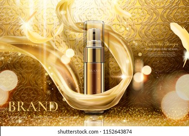 Luxury golden skincare spray with weaving chiffon in 3d illustration, curved background