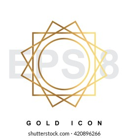 Luxury golden sun icon or logo. Vector illustration of shining symbol isolated on white.