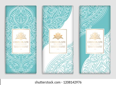 Luxury golden and turquoise packaging design of chocolate bars. Vintage vector ornament template. Elegant, classic elements. Great for food, drink. Can be used for background and wallpaper.