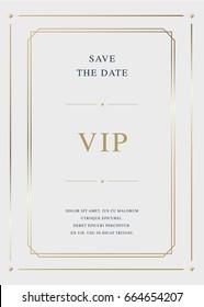 Luxury golden vector invitation card template