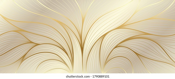 Luxury golden wallpaper. Art Deco Pattern, Vip invitation background texture for print, fabric, packaging design, invite.  Vintage vector illustration.