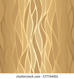 Luxury golden wallpaper. Vintage seamless wave pattern Vector background.