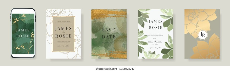 Luxury green and gold Social Media Wedding invite frame templates. Vector background. Mockup for social media banner. mobile Floral golden collage layout design.