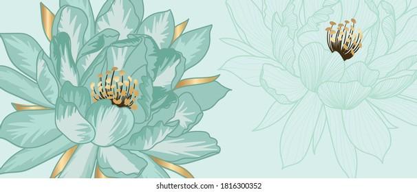 Luxury green jade background vector with golden metallic decorate in leaf