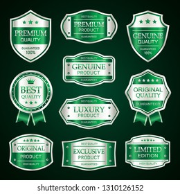 Luxury green premium badges labels collection