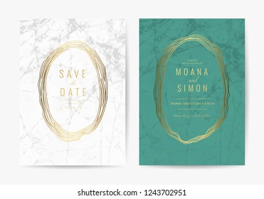 Luxury Green and white marble wedding invitation card template vector