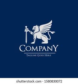 Luxury Gryphon Sword Heraldic Logo