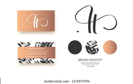 Luxury hand drawn calligraphy H letter. Can be used as brand name logo and also as initials for wedding poligraphy.