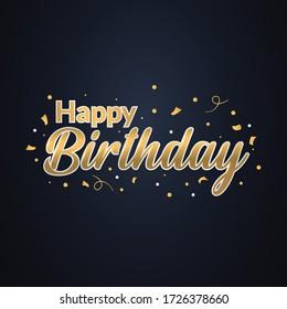 Luxury happy birthday golden greeting, celebration, invitation, illustration vector design