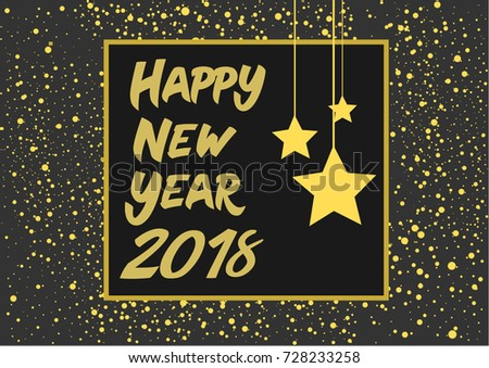 luxury happy new year 2018 golden typography on gray background greeting card design vector