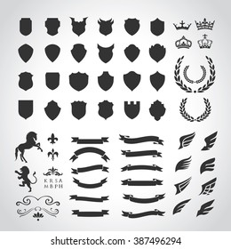 Luxury Heraldic Crests Logo Element Set. Vintage laurel wreaths, Ribbon and Wing icons