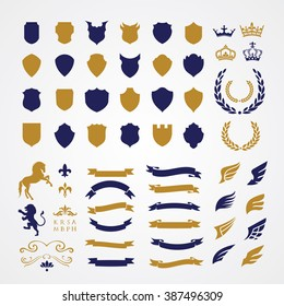 Luxury Heraldic Crests Logo Element Set. Vintage laurel wreaths, Ribbon and Wing icons